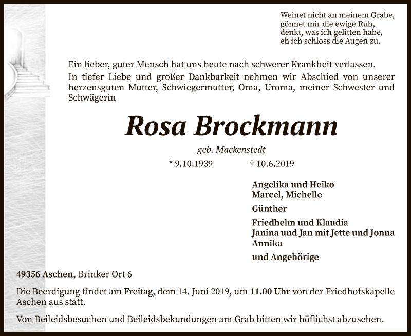 Traueranzeige für Rosa Brockmann vom 12.06.2019 aus SYK