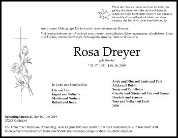 Traueranzeige für Rosa Dreyer vom 08.06.2019 aus SYK