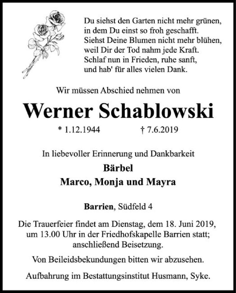 Traueranzeige für Werner Schablowski vom 12.06.2019 aus SYK