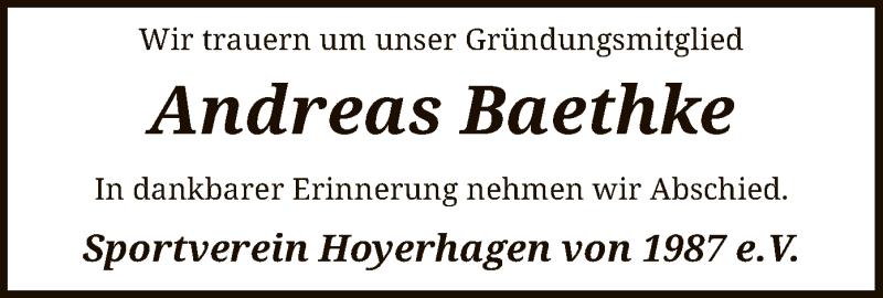 Traueranzeige für Andreas Baethke vom 09.07.2019 aus SYK