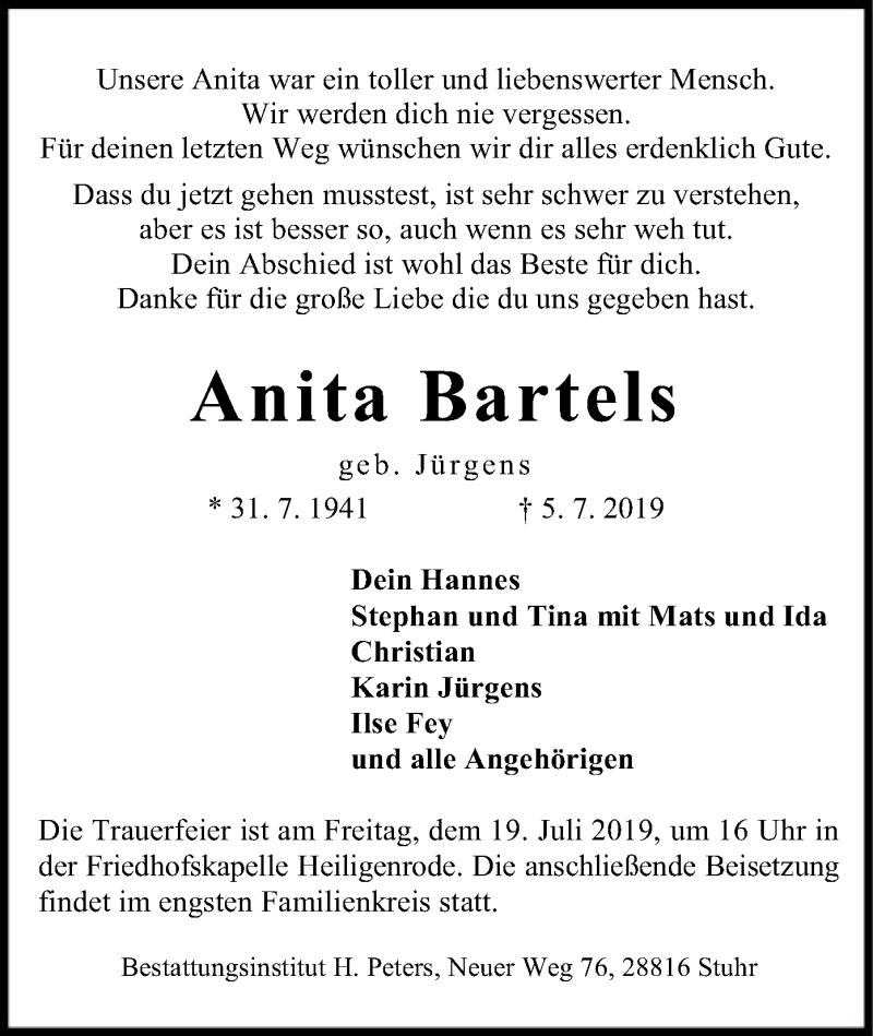 Traueranzeige für Anita Bartels vom 09.07.2019 aus SYK