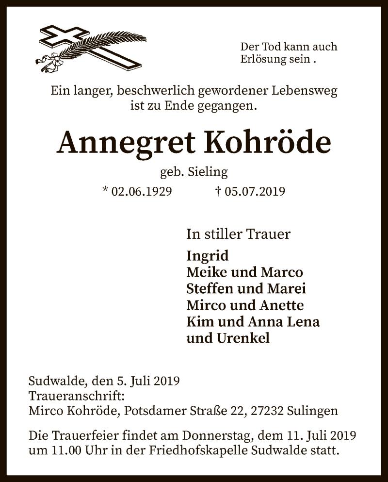Traueranzeige für Annegret Kohröde vom 09.07.2019 aus SYK
