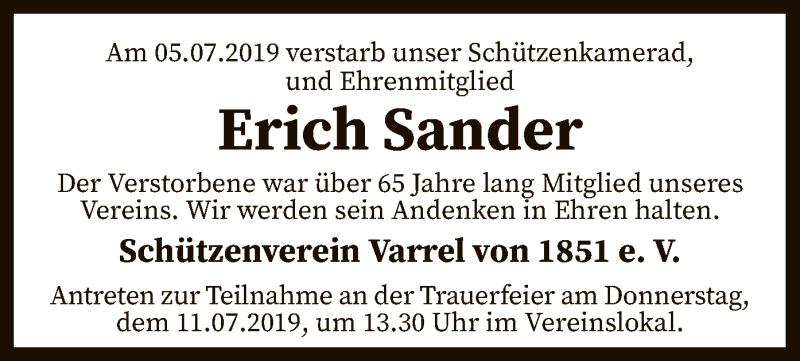 Traueranzeige für Erich Sander vom 10.07.2019 aus SYK
