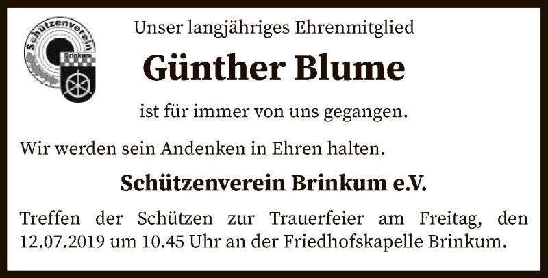 Traueranzeige für Günther Blume vom 11.07.2019 aus SYK