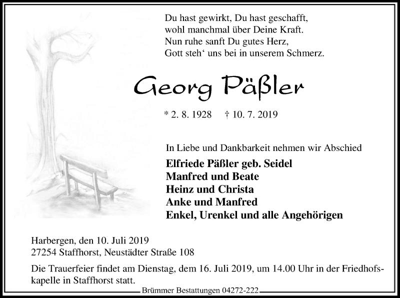 Traueranzeige für Georg Päßler vom 12.07.2019 aus SYK