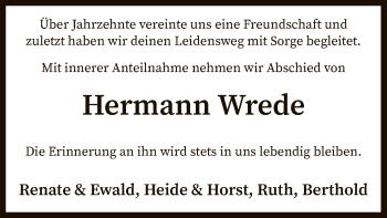 Traueranzeige für Hermann Wrede vom 09.07.2019 aus SYK