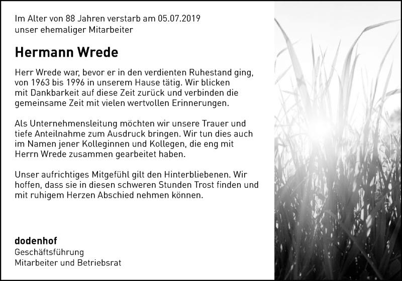 Traueranzeige für Hermann Wrede vom 11.07.2019 aus SYK