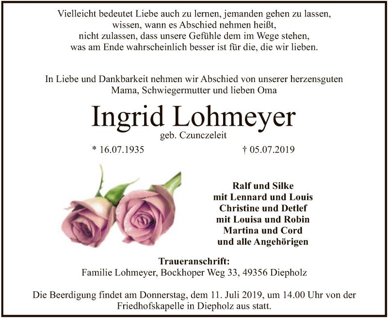 Traueranzeige für Ingrid Lohmeyer vom 09.07.2019 aus SYK