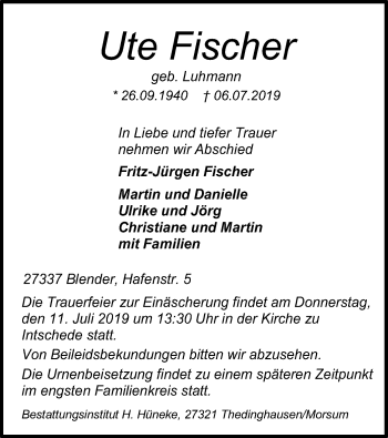 Traueranzeige für Ute Fischer vom 09.07.2019 aus SYK
