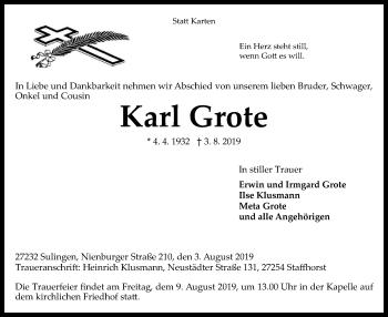 Traueranzeige von Karl Grote von SYK