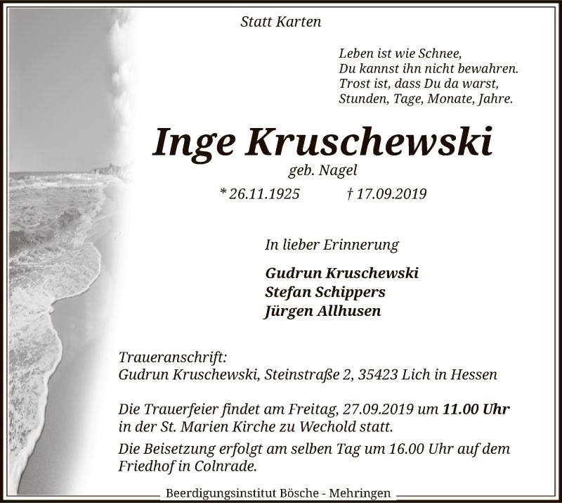 Traueranzeige für Inge Kruschewski vom 21.09.2019 aus SYK