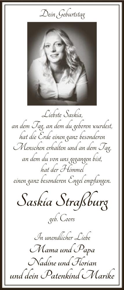 Traueranzeige für Saskia Coors vom 19.09.2019 aus SYK