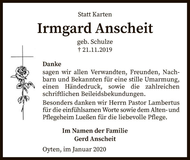 Traueranzeige für Irmgard Anscheit vom 11.01.2020 aus SYK