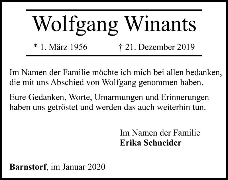 Traueranzeige für Wolfgang Winants vom 11.01.2020 aus SYK