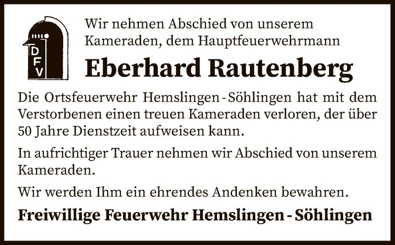 Traueranzeige für Eberhard Rautenberg vom 17.10.2020 aus SYK