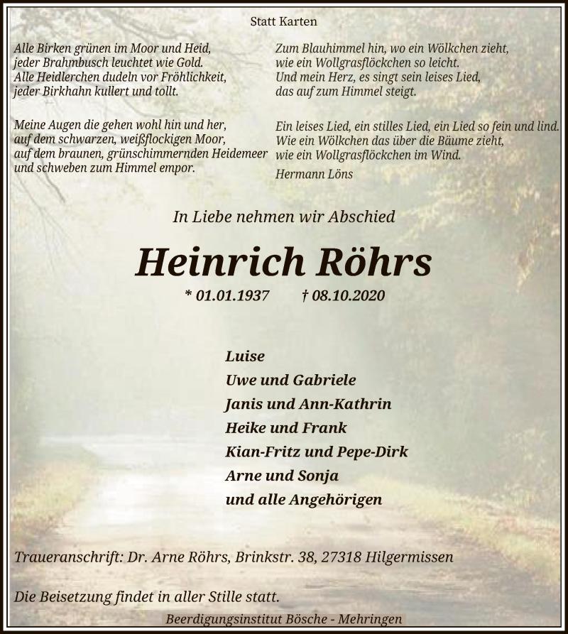 Traueranzeige für Heinrich Röhrs vom 13.10.2020 aus SYK
