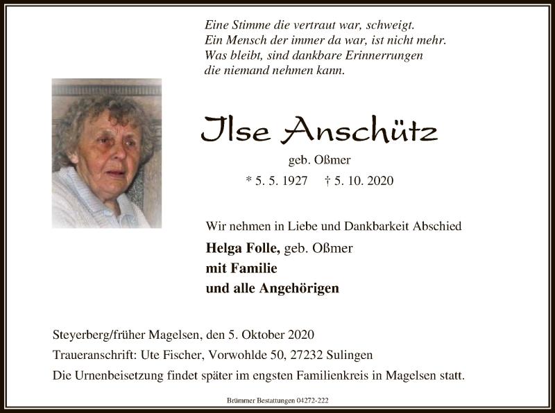 Traueranzeige für Ilse Anschütz vom 08.10.2020 aus SYK