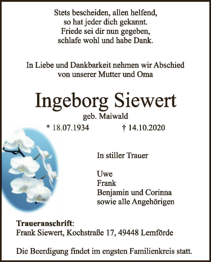 Traueranzeige für Ingeborg Siewert vom 17.10.2020 aus SYK