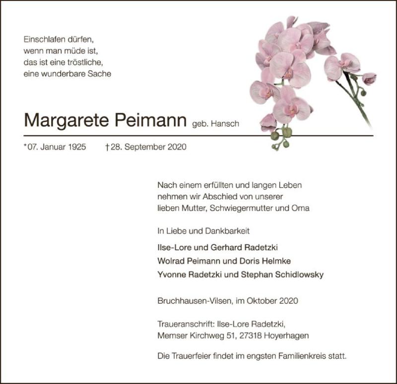 Anzeige von  Margarete Peimann