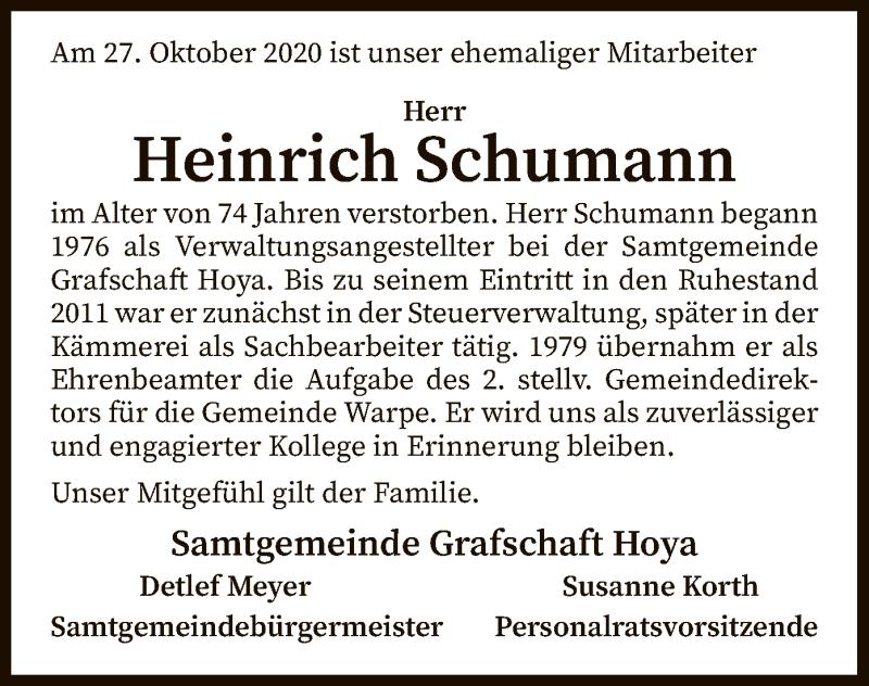 Traueranzeige für Heinrich Schumann vom 11.11.2020 aus SYK
