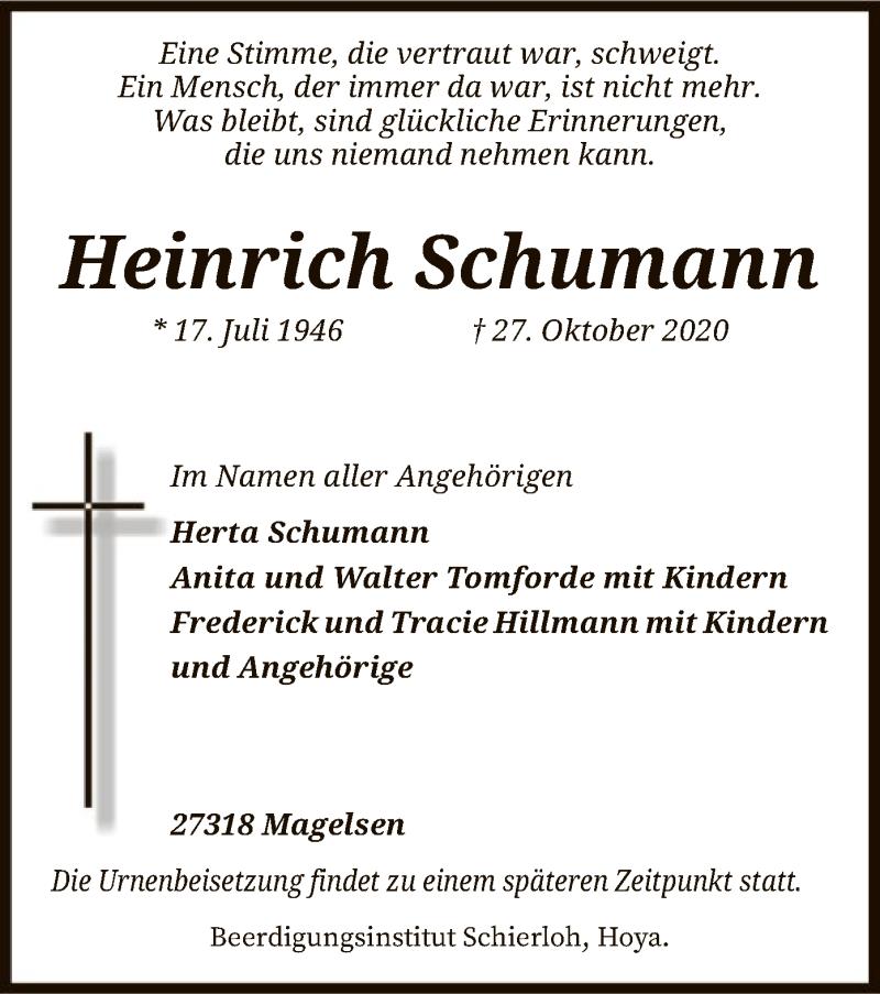 Traueranzeige für Heinrich Schumann vom 07.11.2020 aus SYK
