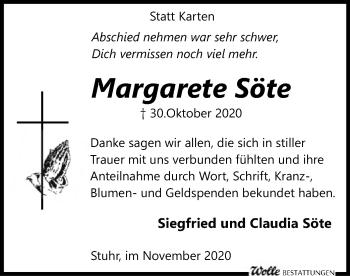 Traueranzeige von Margarete Söte von SYK