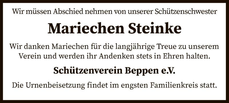 Traueranzeige für Mariechen Steinke vom 24.11.2020 aus SYK