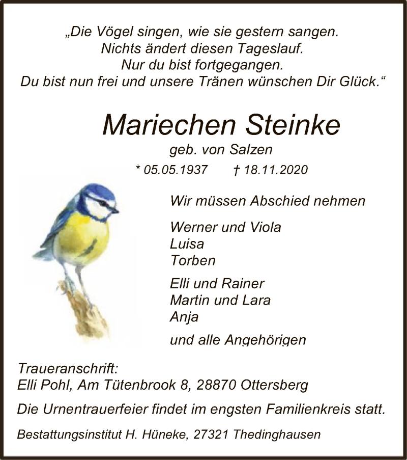 Traueranzeige für Mariechen Steinke vom 21.11.2020 aus SYK