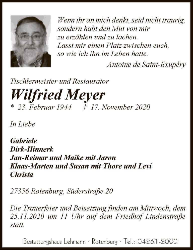 Traueranzeige für Wilfried Meyer vom 19.11.2020 aus SYK