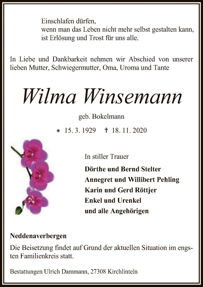 Traueranzeige für Wilma Winsemann vom 20.11.2020 aus SYK