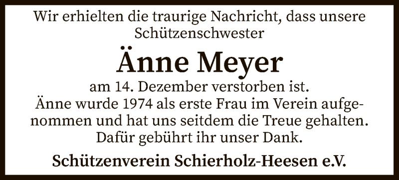 Traueranzeige für Änne Meyer vom 19.12.2020 aus SYK