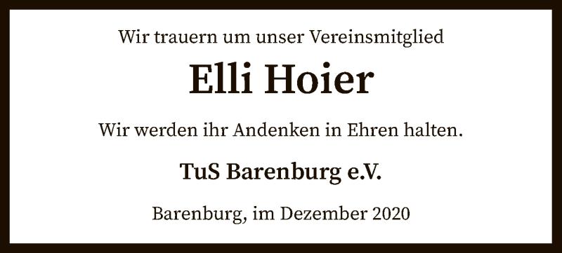 Traueranzeige für Elli Hoier vom 18.12.2020 aus SYK