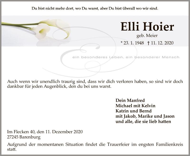 Traueranzeige für Elli Hoier vom 16.12.2020 aus SYK