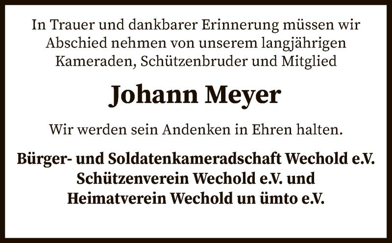 Traueranzeige für Johann Meyer vom 04.12.2020 aus SYK