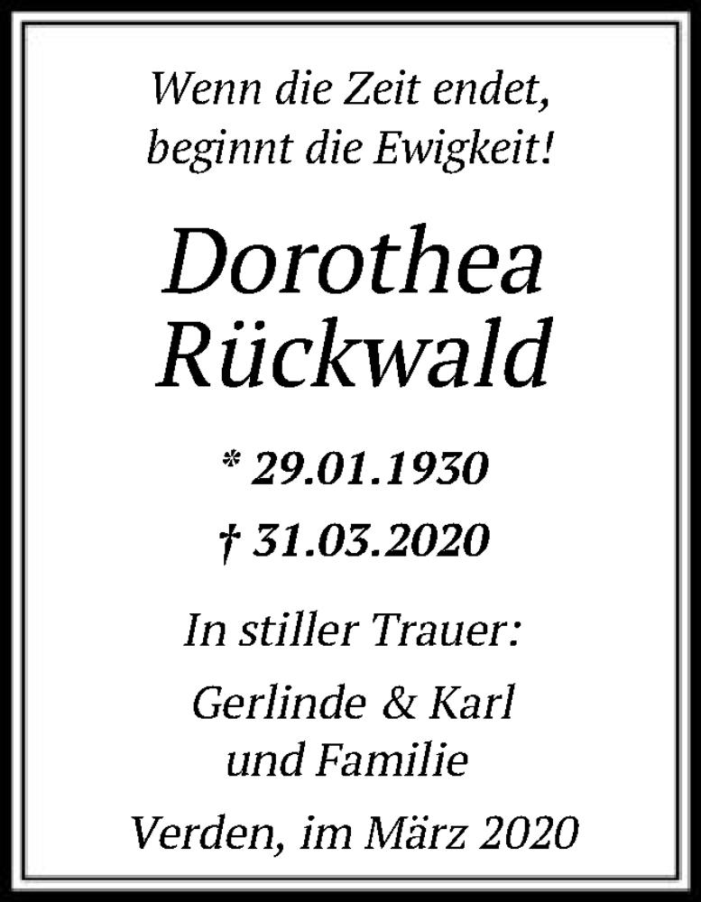 Traueranzeige für Dorothea Rückwald vom 03.04.2020 aus SYK