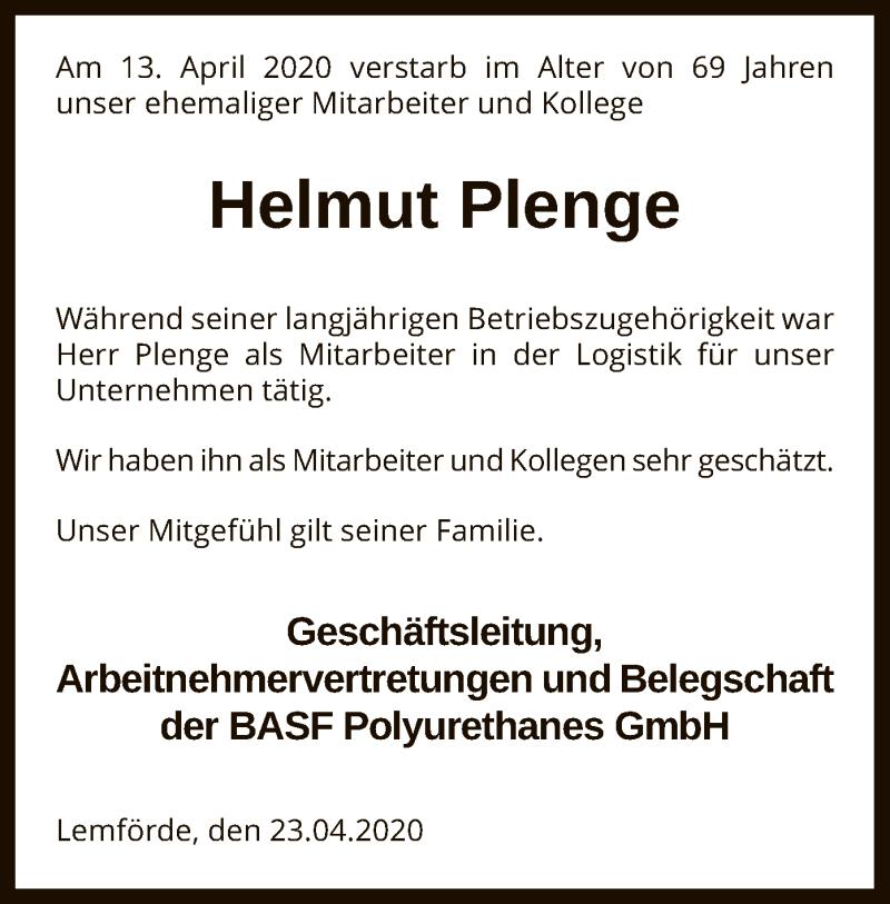 Traueranzeige für Helmut Plenge vom 23.04.2020 aus SYK