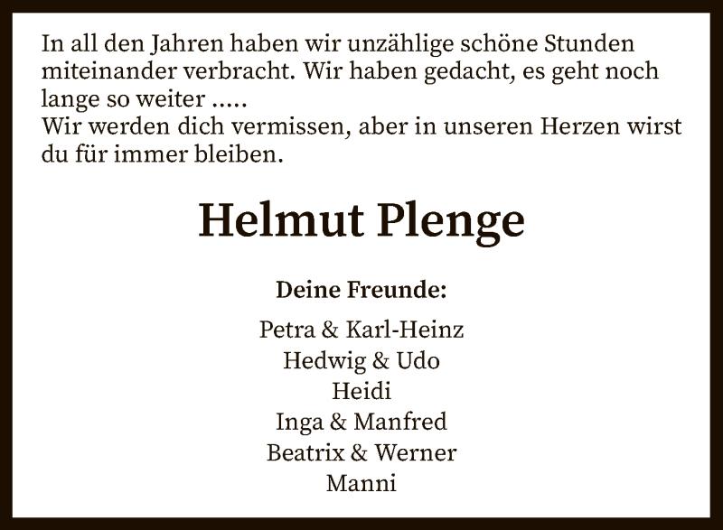 Traueranzeige für Helmut Plenge vom 22.04.2020 aus SYK