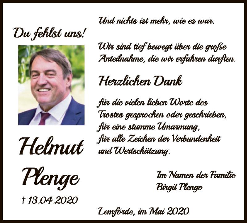 Traueranzeige für Helmut Plenge vom 23.05.2020 aus SYK