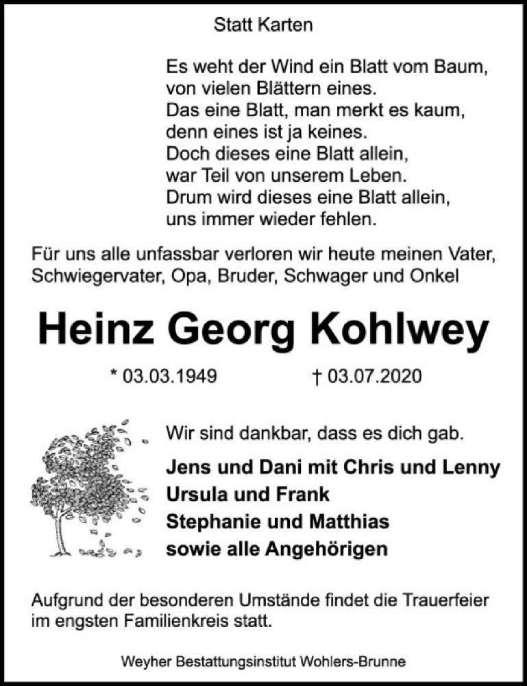 Traueranzeige für Heinz Georg Kohlwey vom 11.07.2020 aus SYK