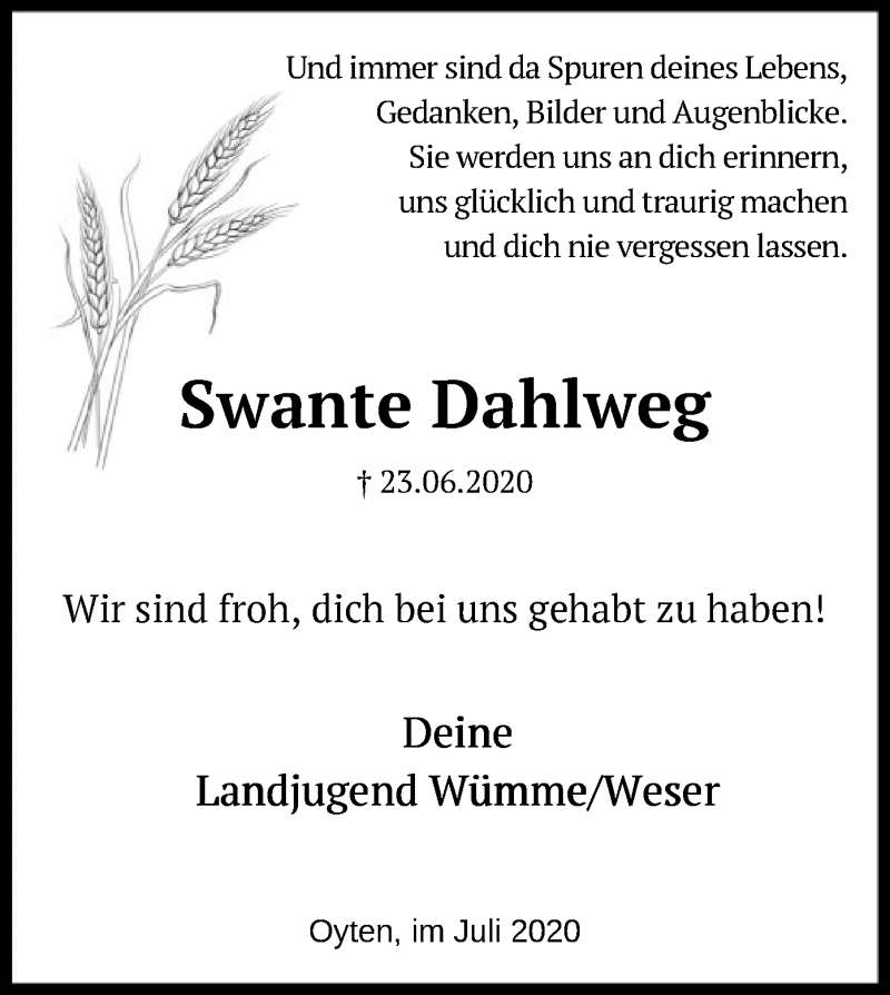 Traueranzeige für Swante Dahlweg vom 01.07.2020 aus SYK