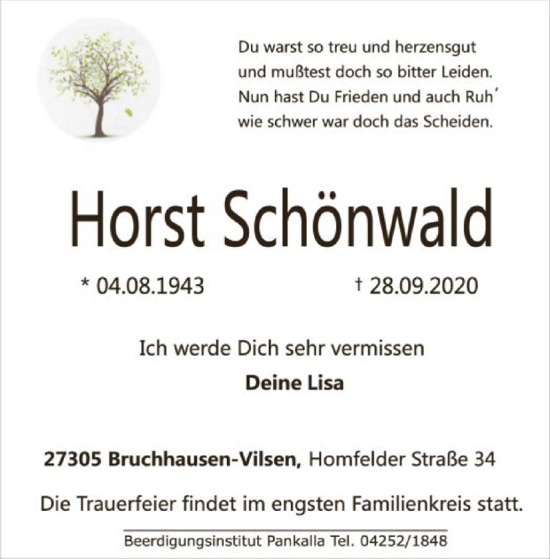 Anzeige von  Horst Schönwald