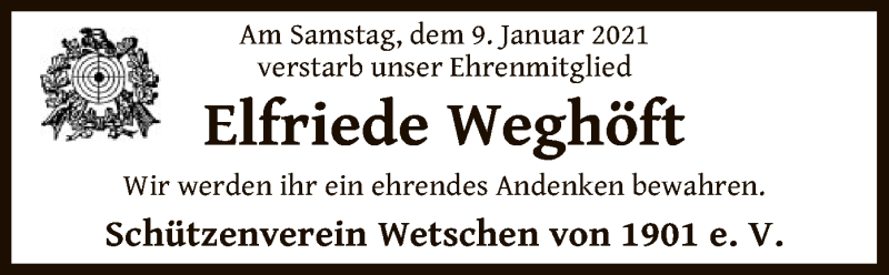 Traueranzeige für Elfriede Weghöft vom 13.01.2021 aus SYK