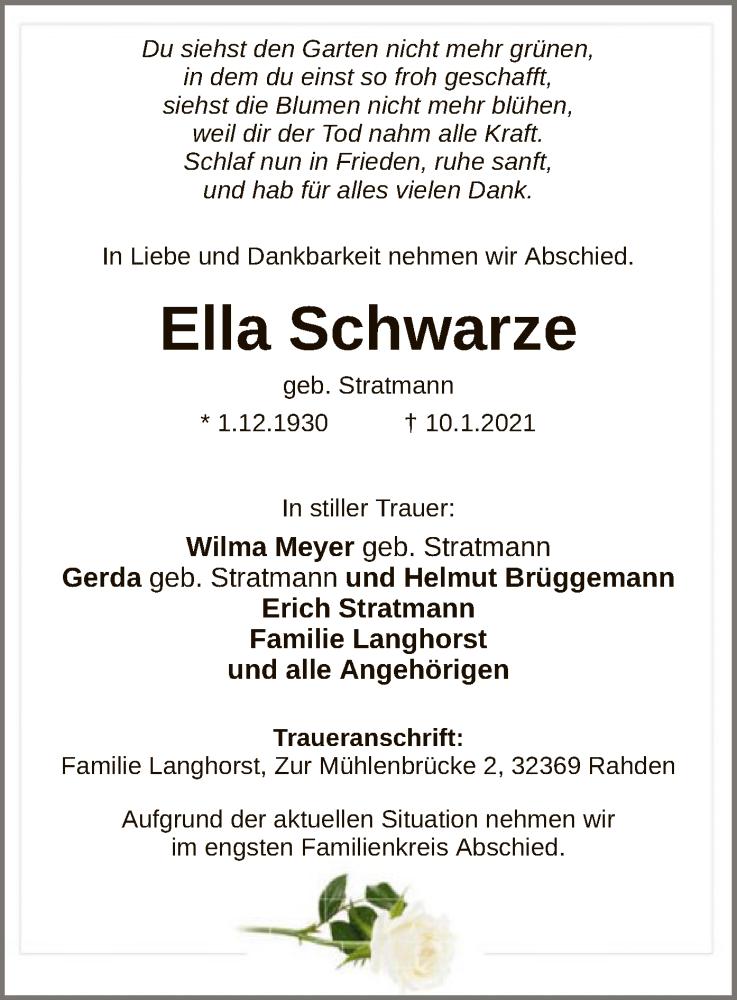 Traueranzeige für Ella Schwarze vom 13.01.2021 aus SYK