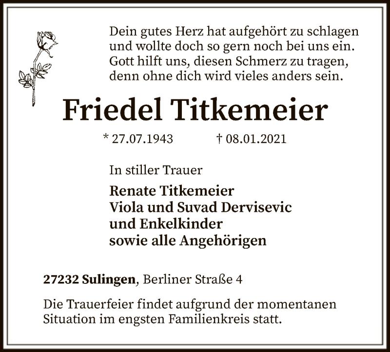 Traueranzeige für Friedel Titkemeier vom 12.01.2021 aus SYK