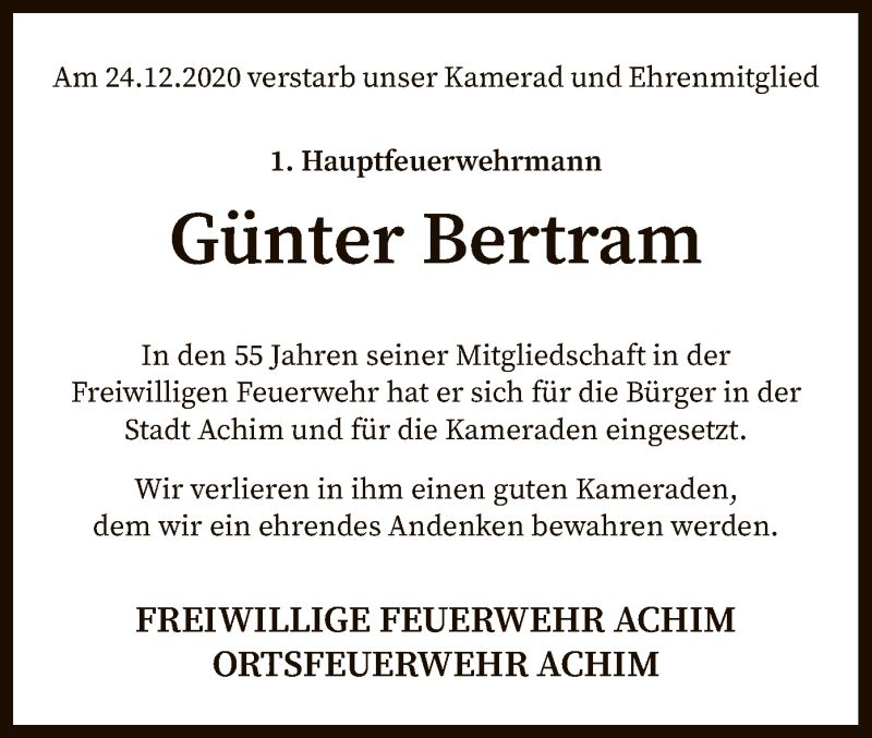 Traueranzeige für Günter Bertram vom 06.01.2021 aus SYK
