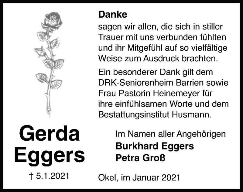 Todesanzeige von  Gerda Eggers