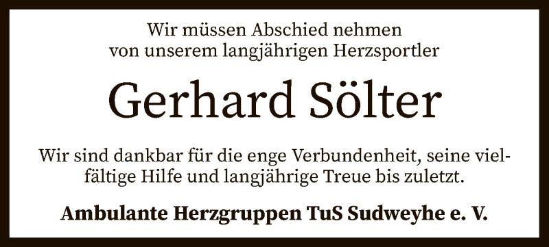 Traueranzeige für Gerhard Sölter vom 16.01.2021 aus SYK