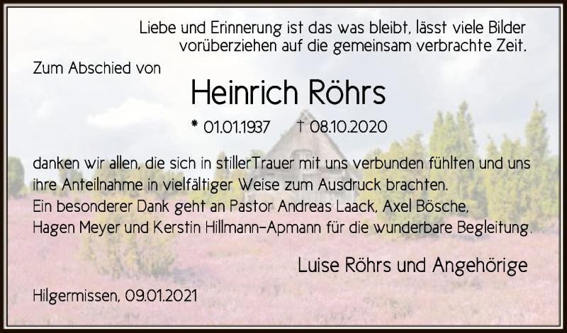 Traueranzeige für Heinrich Röhrs vom 09.01.2021 aus SYK