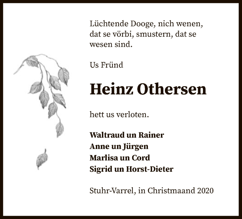 Traueranzeige für Heinz Othersen vom 02.01.2021 aus SYK