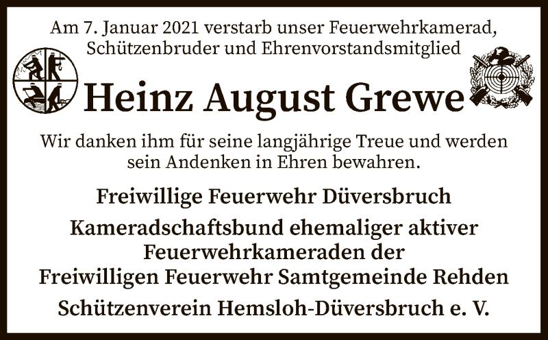 Traueranzeige für Heinz August Grewe vom 12.01.2021 aus SYK